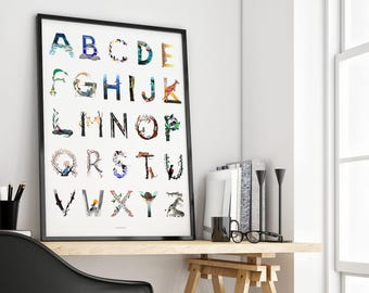 Animal Alphabet Art Print | alphabet poster, nursery wall art, wall decor, bedroom decor, children's room, nursery decor, kids room decor