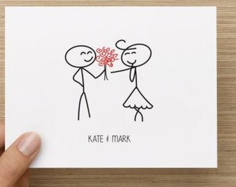 Bridal Shower Thank You Card.  Stick figure couple.  Personalized with names.  Multiple pack sizes available!