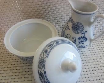 BOHEMIA  Sugar Bowl and Creamer Set CZECHOSLOVKIA