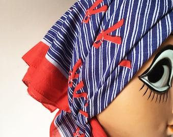 Vintage Italian cotton  scarf. navy sailor red white