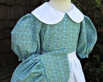 Girls Size 7/8 Pioneer Dress,Bonnet,and apron (Please read full details with measurements and shipping times)