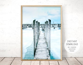 blue photography, beach wall art printable, blue wall art, pier print, beach print, beach poster, pier wall art, instant download