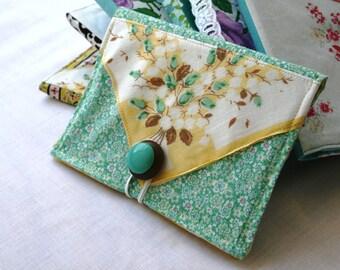 Photo Album Brag Book Vintage Fabric Hankerchief Button Yellow Green Romantic Valentines Day