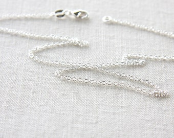 Short 16 inch Chain Fine 925 Sterling Silver Chain Necklace Thin Choker Chain Necklace for Pendant Ready to Wear gift Chain for Flower Girl