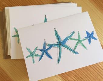 Watercolor Starfish Blank Note Cards - Seashore Note Cards - Blue Starfish Cards - Beach Watercolor Note Cards - Box of 6