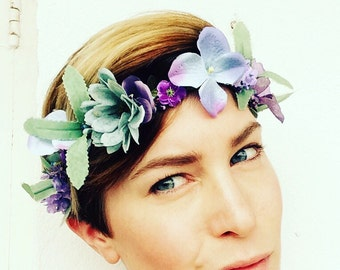 LAVENDER - Flowercrown, Frida Kahlo inspired floral headpiece, Wedding hair accessories, headband, Bridal headpiece