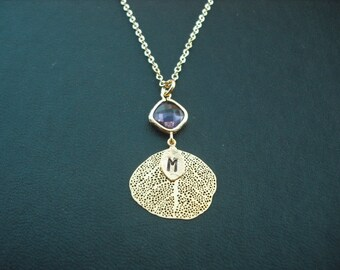 personalized - violet bezel and filigree leaf  necklace - 16K gold plated, Bridesmaids gift, Wedding Gift