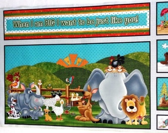 When I am Big animals baby's cot quilt or wallhanging cotton fabric panel - make a great handmade baby gift