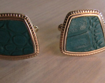 Gold Tone Cuff Links with Green Faux Reptile Skin