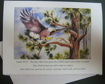 Encouragement Greeting Cards Wings of Eagles, Christian Scripture art watercolor print 5 x 7 Note card Religious