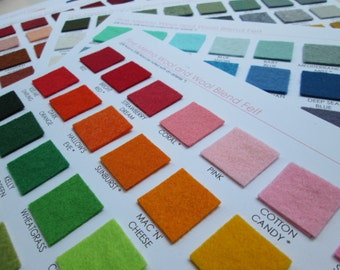 Wool Felt Swatch Card Set - 198 Amazing Colors  (Plus you get a 5 dollar shop credit with purchase)