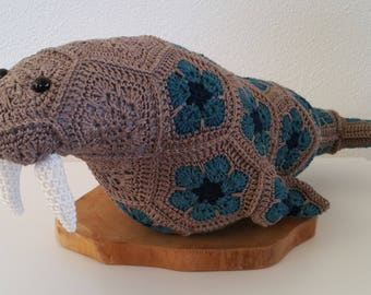 Crochet Walrus from african flowers , African flower walrus