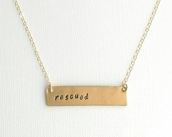 Customizable Handstamped Bar Necklace (available in silver, gold, or copper)