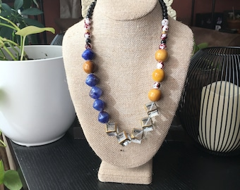Modern beaded statement necklace