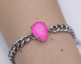 Hot Pink Bomb / Neon Crystal / Swarovski Chain Bracelet / Stainless Steel / Curb Chain / Teardrop Crystal / Stacking