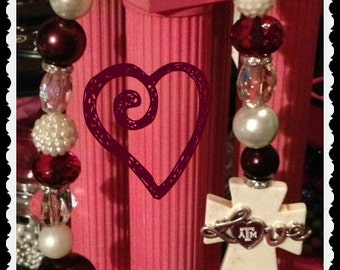 Texas A&M Aggies Love Side Cross Beaded Necklace