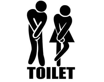 Bathroom Sticker- Toilet Vinyl Decal Sign