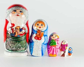 Matryoshka Doll Russian Santa with Snowmaiden