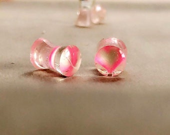 6mm / 2g Transparent Pink Sweetheart Plugs / Gauges for stretched ears.