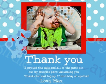 Custom Printable Blues Clues Birthday Thank You
