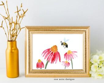 Watercolor Bee and Floral Digital Print