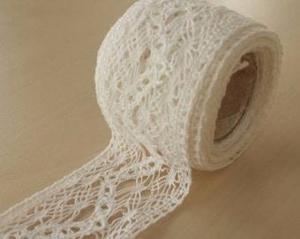 Cotton lace trimming, vintage lace cotton, ivory lace trim, ivory lace, alencon lace trimming, trim, white trim, ivory trim, MB00018