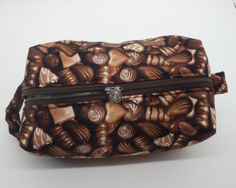 Chocolate Travel Bag, Chocolates Pouch, Zip Pouch, Ditty Bag, Toiletry Kit, Cosmetics Pouch, Chocolate Lovers Gifts