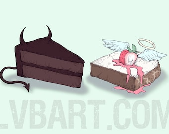 Devil's Food Cake vs Angel Food Cake Fine Art Print