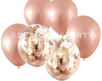 Rose Gold Metallic Balloons With 2 Confetti rose gold balloons (12 Pack) Copper Confetti DMP01