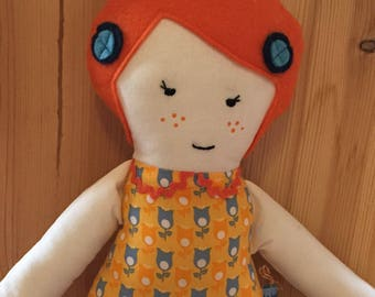 Doll made of cotton fabric with embroidered face, Yvonne.