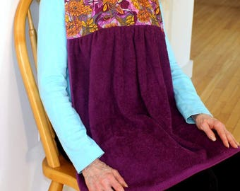 Adult Bib in Mulberry Floral print, No-Tie Apron