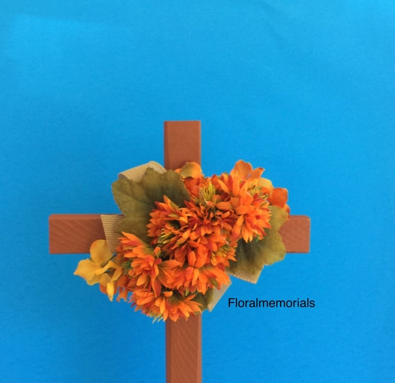 Cemetery flowers, Cemetery cross , grave decoration, memorial cross, flowers for grave