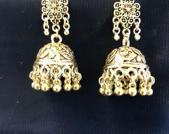 Silver tone oxidized small size jhumka trendy earrings