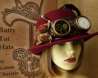 Steampunk Brimmed Cloche Hat with Goggles - The Amy Johnson -  Ladies Burgundy Cloche with Aviator Goggles, !920s Style Hat, Handmade OOAK