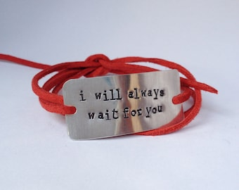 "deployment bracelet, hand stamped, ""i will always wait for you"", military wife, military girlfriend, deployment jewelry, military jewelry"