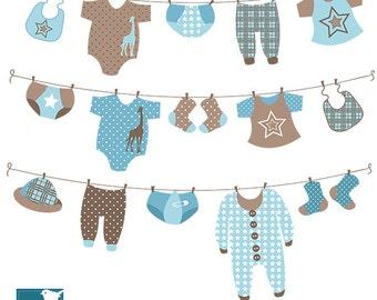 Boy Laundry Line Digital Clipart - Scrapbooking , card design, invitations, stickers, paper crafts, web design - INSTANT DOWNLOAD