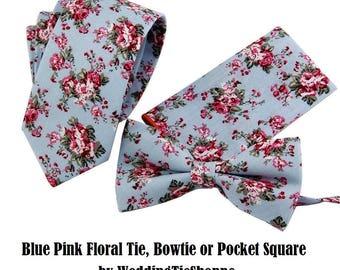 Floral Tie Wedding Bow Tie Blue Pink Necktie with Pocket Square Groomsmen Ties Groomsman Wedding Neckties Best Man Groom Tie