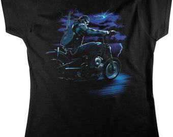 Skeleton Biker With Guitar, Motorcycle Women's T-shirt, NOFO_00744