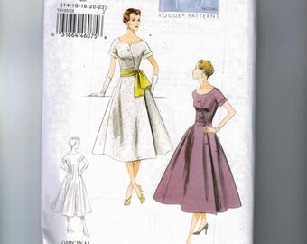 REPRODUCTION Misses Sewing Pattern Vogue V9105 9105 1954 1950s 50s Style Full Skirt Asymmetrical Front Size 6 8 10 12 14 16 18 20 22 UNCUT