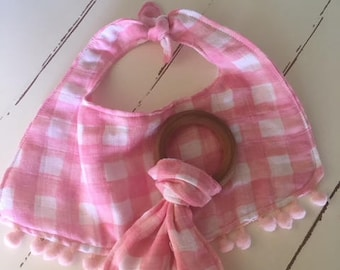 Easter Pink double gauze Baby Bib with pom poms and Teething Ring Organic maple hardwood sweet baby girl nursery shower gift new baby