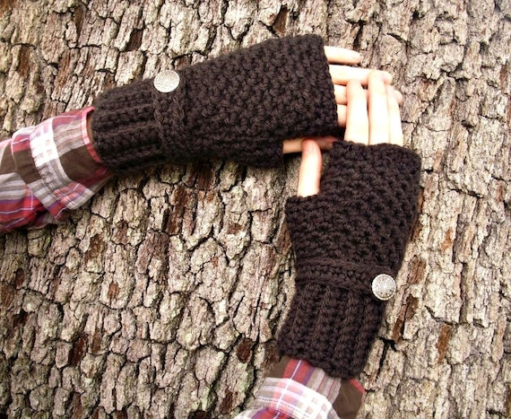 Crocheted Fingerless Gloves Mittens - Fingerless Gloves in Espresso Brown Gloves - Brown Mittens Womens Accessories