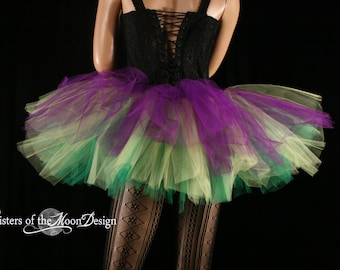 Mardi Gras tulle tutu skirt adult purple yellow green ballet dance costume carnival race event club - You Choose Size - Sisters of the Moon