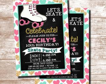 Free Roller Skating Birthday Party Invitations ~ Roller skating birthday invitation rollerskating birthday