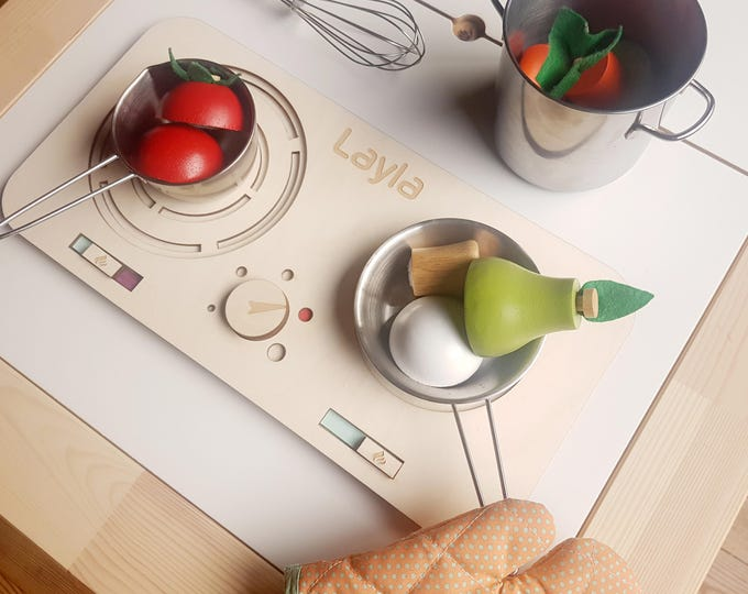 Wooden play kitchen - medium with two burners - waldorf cook top for kids