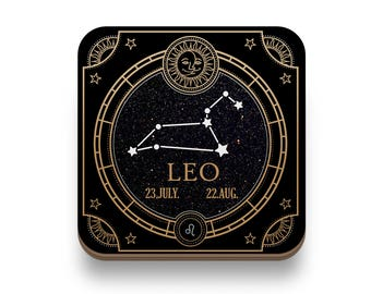 Leo Zodiac Coaster - Great Housewarming Gift - 4 pack