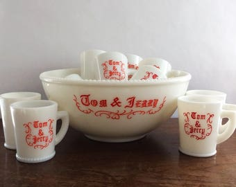 13 Piece Tom and Jerry Set McKee Milkglass Christmas Holiday Punch Bowl Hobnail White Red