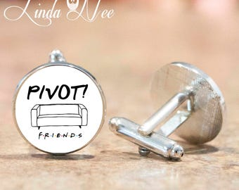 PIVOT Friends TV Show Cufflinks, Round Cufflinks, Men Gifts, Friends TV Fan Cuff Links, Friends Show Attire, Pivot Cufflinks, Silver CLS2