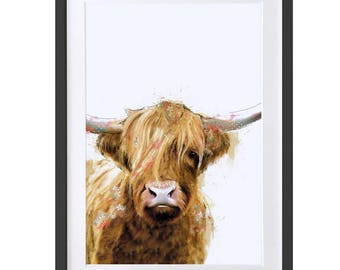 Highland Cow Fine Art Print, Highland Cow Painting, Highland Cow Home Decor, Scottish Cow Wall Art