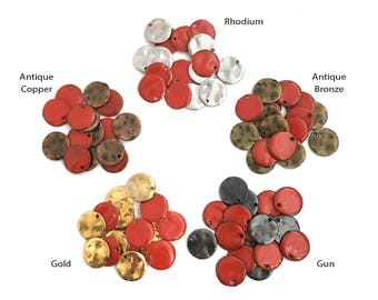14mm Red Round Disc Charm, Enamel Charm, Hammered Disc, Blank disc, Wave Disc, Rhodium, Gold, Gunmetal, Antique Bronze, Antique Copper,12 pc