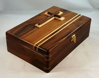 Walnut, Bible Box,Bible Study,Family History,Bible Case,Bible Holder,Bible Stand,Bible Accessories,Cross,Maple,Family Bible,Bible